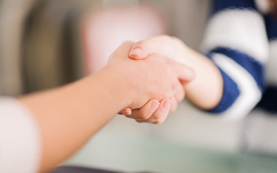 Handshake between two people