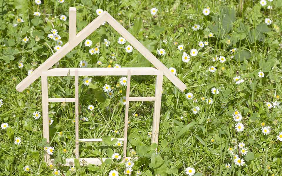 Small stick house frame in the grass