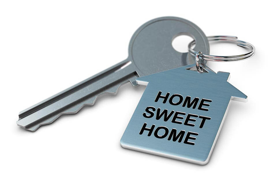 Key and keyring with home sweet home