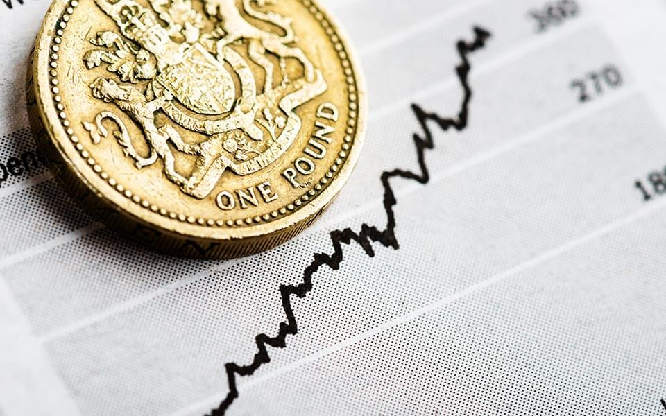 Pound coin on financial graph