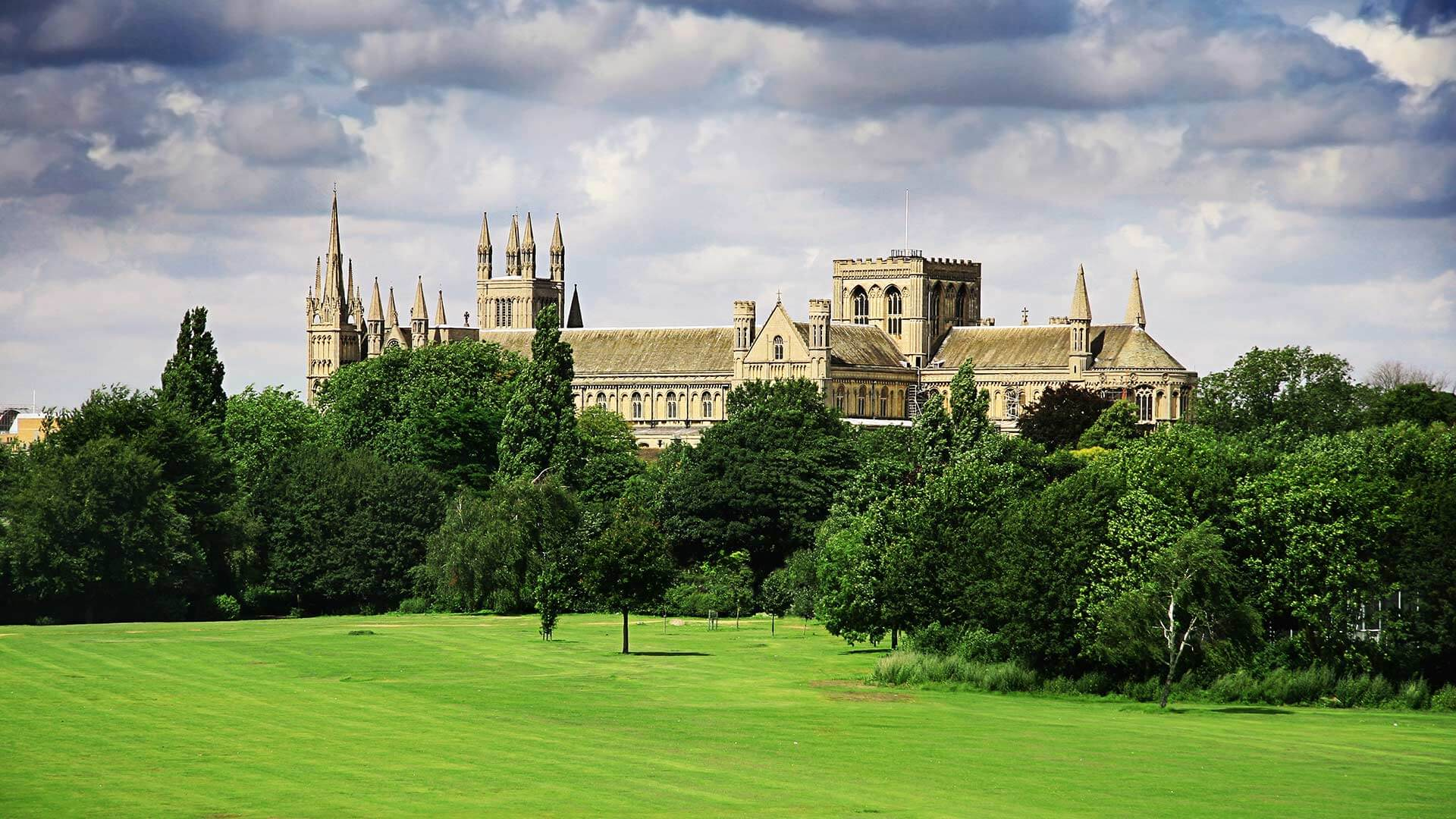 English landscape with cathedral