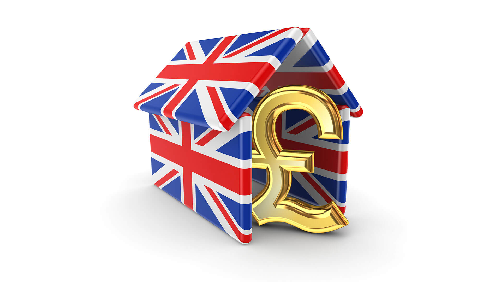 Pound sign under British flag roof