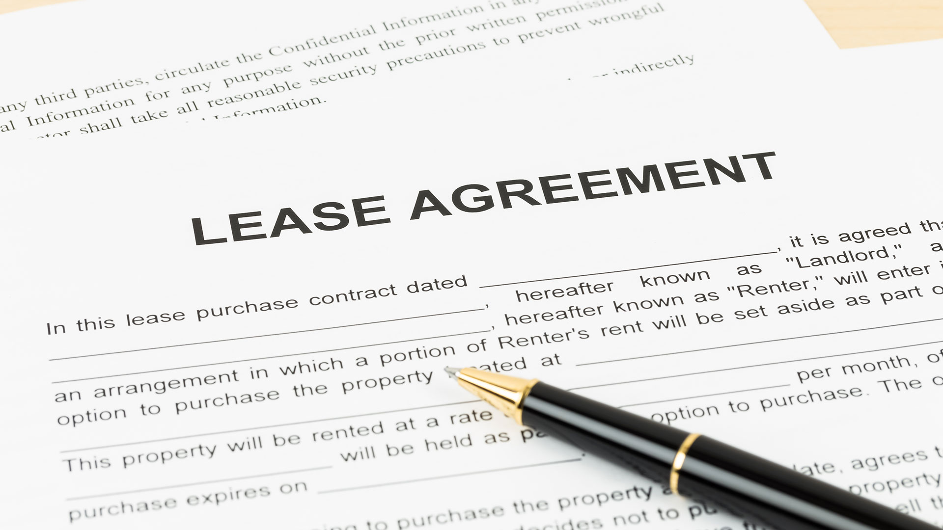 Lease agreement document