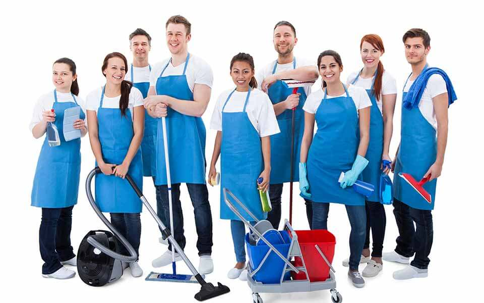 group of people with cleaning supplies